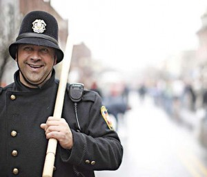 Portraying vintage British bobbies during Dickens of a Christmas are on-duty members of the Franklin, Tenn., Police Department. Public Aff airs Offi cer Ryan Schuman noted the offi cers really enjoy the experience as much as the citizens. (Photo provided)