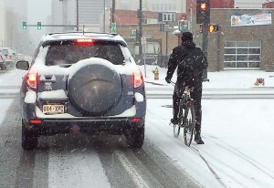 Because commuters continue to pedal throughout winter, communities must develop plowing strategies on multimodal and nonmotorizied transportation routes. In Denver, bike routes are predominately shared lanes that are plowed along with the rest of the street. (Photo provided)