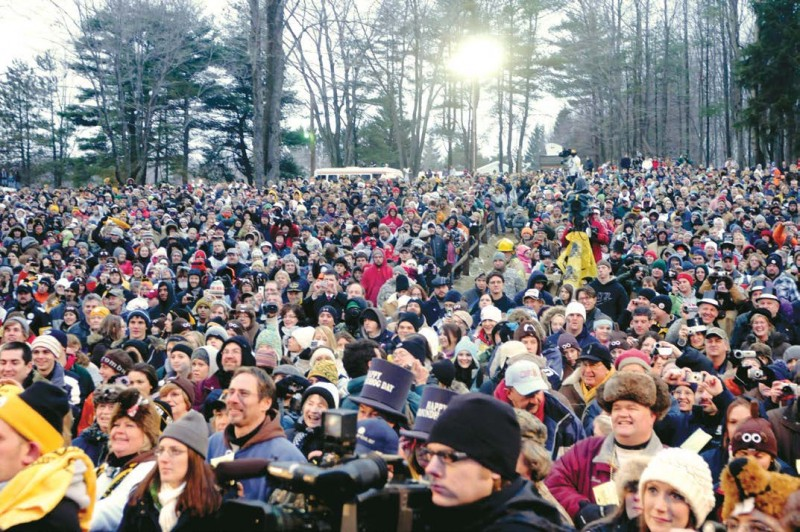 A crowd gathers at Gobbler's Knob in Punxsutawney, Pa.