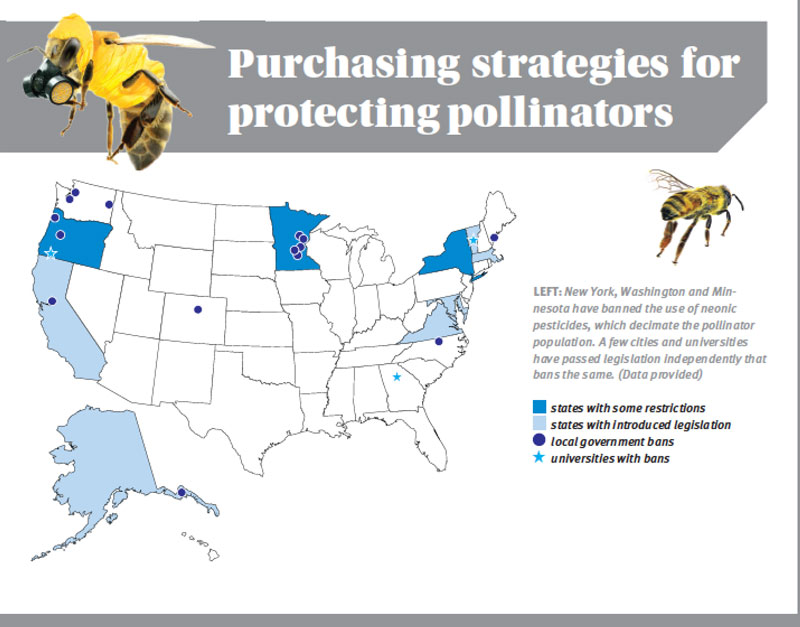 New York, Washington and Minnesota have banned the use of neonic pesticides, which decimate the pollinator population. A few cities and universities have passed legislation independently that bans the same. (Data provided)