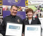 Heights Chief of Police, and Kathy Kelly, Columbia Heights, Mo., superintendent of schools, receive the 2015 L. Anthony Sutin Civic Imagination Award