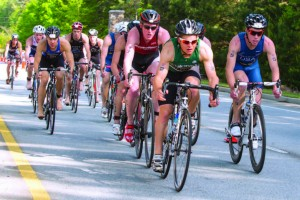 A group of college athletes representing 120 universities participated in the Clemson, S.C., USAT National Collegiate Triathlon last spring. The city invested $45,000 over two years to bring the event to town and received $20,000 in grants to help cover expenses. (Photo provided)