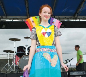 "At the Duck Tape Festival held each Father's Day weekend in Avon, Ohio, the ""Duck Tape Capital of the World,"" a main event is the ""Stuck at Prom"" Scholarship Contest. Prizes go to the young people who designs and builds the most attractive prom wear out of Duck Tape. Pictured is one of the 2015 winners."