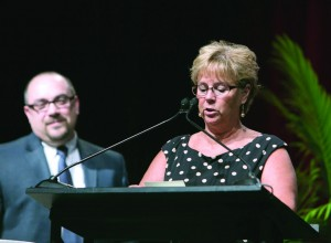 For the fourth year, the NAFA I&E Flexy Awards will recognize success in several aspects of fleet management, as voted on by their peers and experts. Pictured are The Municipal Publication Manager Kim Gross and Account Executive Chris Smith announcing the 2015 Flexy winner in the Public Fleet Safety category. (Photo provided)