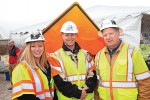 Street and highway workers Christiana Brganti-Dunn, Rick James and Paul Knighton gathered at the National Work Zone Awareness Week Kick Off event in Virginia in 2015.