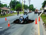 In the early morning hours of July 18, 2007, a 15-foot-by-24-foot sinkhole opened in Wendover Avenue in Greensboro, N.C., swallowing a Honda Accord and making necessary a pipe replacement project. (Photo provided)