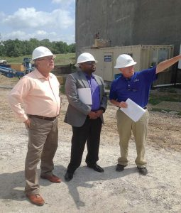 From left, Lebanon Mayor Philip Craighead, Field Representative Evann Freeman from U.S. Sen. Lamar Alexander's office and Mike Webb, vice president marketing for PHG Energy, tour the gasification plant construction site.