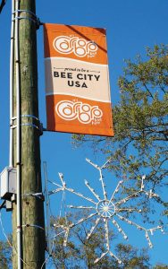 Pictured is a Carrboro Bee City USA banner. (Photo provided by Carrboro, N.C.)