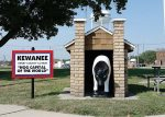 """The """"hog castle"""" marks the entrance of the small one-block downtown park that serves as ground zero for the annual Hog Days festival in Kewanee, Ill. (Photo provided by Larry Flannery)"""