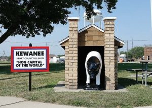 "The ""hog castle"" marks the entrance of the small one-block downtown park that serves as ground zero for the annual Hog Days festival in Kewanee, Ill. (Photo provided by Larry Flannery)"