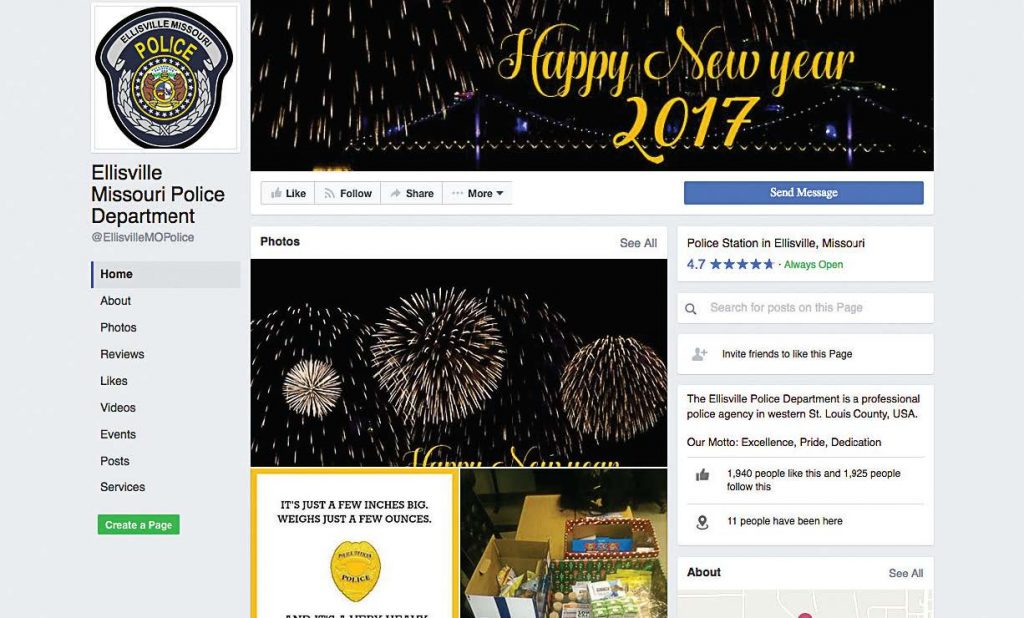 The Ellisville, Mo., Police Department is one of the latest police departments to join Facebook as a means to further community outreach.