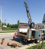 The 3,500-pound Venturo ET12KX service crane pulls fire hydrants for the city of Columbus, Ohio. (Photo provided)