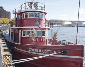The Edward M. Cotter fireboat spends the majority of its time docked at its firehouse in Buffalo, N.Y. Captain John D. Sixt III and Jack Kelleher, the marine engineer, are the ones who care for the boat full time. (Photo provided by the Edward M. Cotter Conservancy)