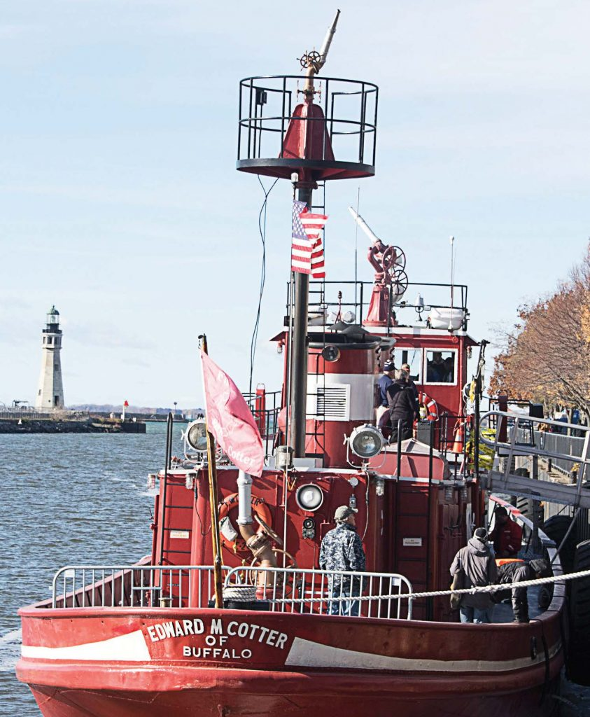 The addition of the tower ladder at the stern of the Edward M. Cotter fireboat helps to give a better vantage point to the firefighters. (Photo provided by the Edward M. Cotter Conservancy)