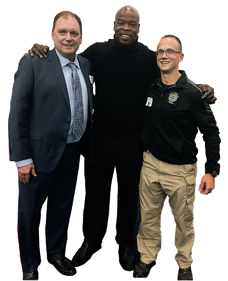 From left are Al Thomson, owner of Thomson Park; Darnell Dinkins, owner E.T.H.I.C. Training, the location where Cranberry Township police officers train; and John Van Vorst, health and fitness instructor within the Physical Training Unit at the FBI Academy at the Cranberry Township's Elite Police FIT kick-off event. (Photo provided)