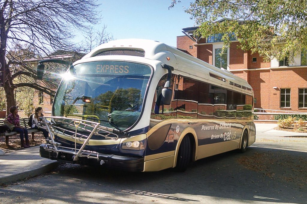 The bus that operates between Seneca and Clemson University reached a national milestone of 100,000 miles of uninterrupted service. The electric buses can stay on the road longer because they are on fast chargers that can have the bus up and running in six minutes and traveling for 30 miles before the next recharge. (Photo provided)