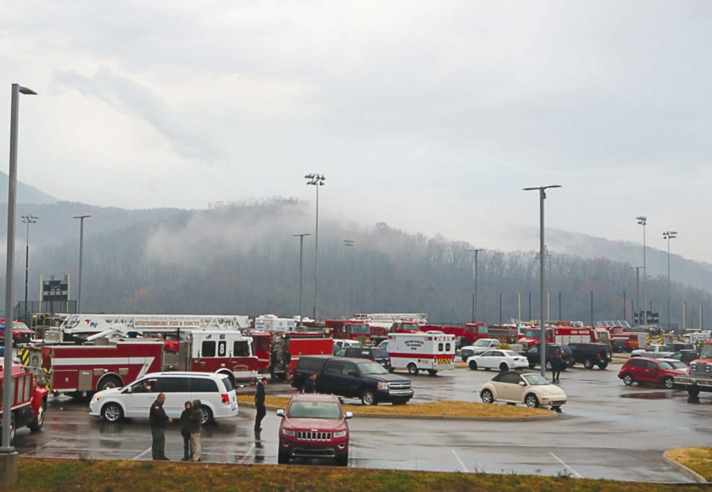 A staging area was set up for first responders and emergency personnel who were battling what is being called the worst fire of the century. Winds reaching up to 90 mph caused embers from a forest fire in the Great Smoky Mountains National Park to jump ridges and travel miles, starting fires all along the way (Photo provided)