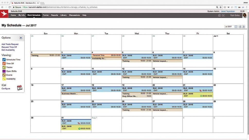 Through Aladtec, employees have access to their schedule as soon as they log in via their internet-connected device. They can also request trades or time off and edit their availability. (Photo provided)