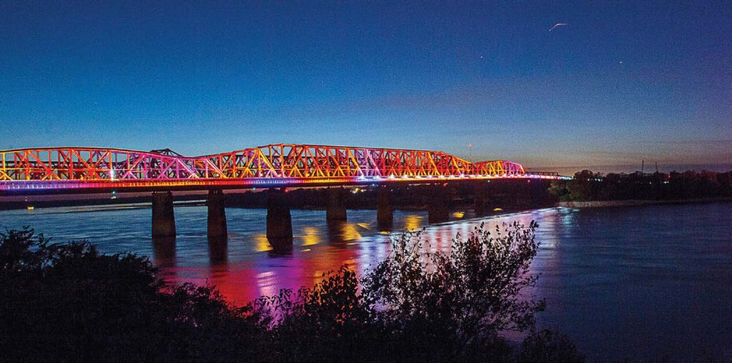 Over 80,000 energy-effi cient LED lights are housed in Big River Crossing. These lights were provided by Philips Lighting. They opened the gates on Oct. 22, 2016, and over 65,000 pedestrians and cyclists experienced the bridge in the fi rst six weeks. (Photo provided by bigrivercrossing.com)