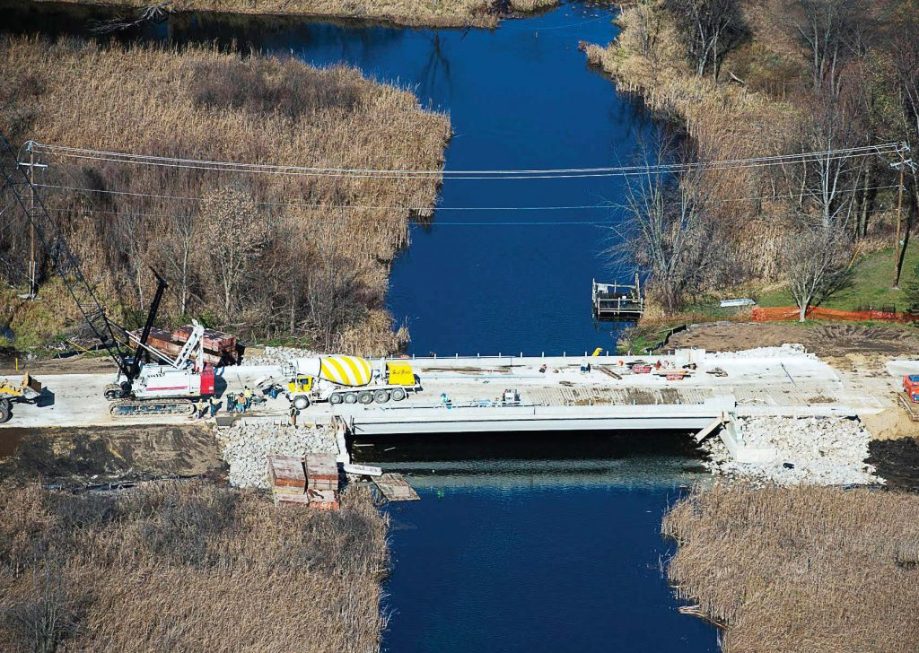 Work on the new state-of-the-art M-86 bridge is expected to wrap up in September 2017. It is the first Michigan Department of Transportation bridge to use carbon fiber composite strand reinforcement in the bulb T-beams. (Photo provided)