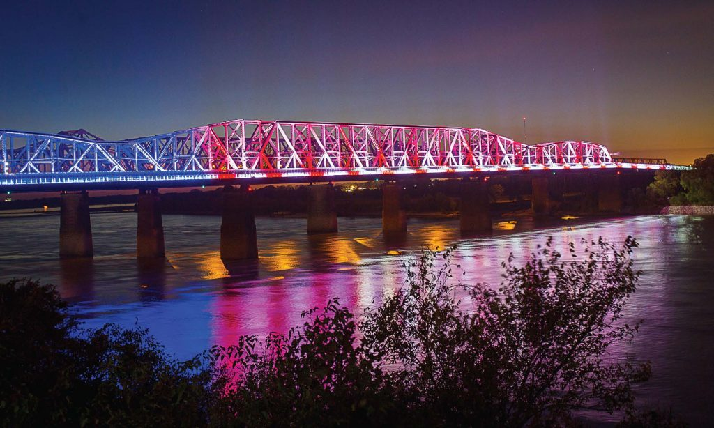 Big River Crossing, which connects Memphis, Tenn., and West Memphis, Ark., over the Mississippi River, can be lit up to commemorate special events. Here it can be seen lit up like a large American flag for holidays such as Independence Day. (Photo provided by bigrivercrossing.com)
