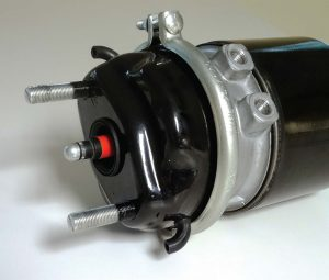 Pictured is the piston brake chamber for air disc applications, featuring low air consumption and higher parking spring force in a compact design. (Photo provided)