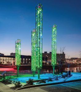 The South Bend River Lights are lit up with special colors for holidays, for example red and green for Christmas; however, they can be changed at any time to reflect the city's mood. (Photo provided)