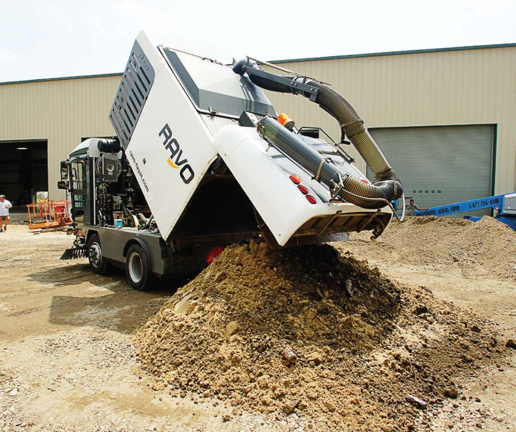 RAVO allows operators to sweep more curb miles because of its large hopper size and most importantly its compaction rate. Operators can then easily dump their load. (Photo provided)