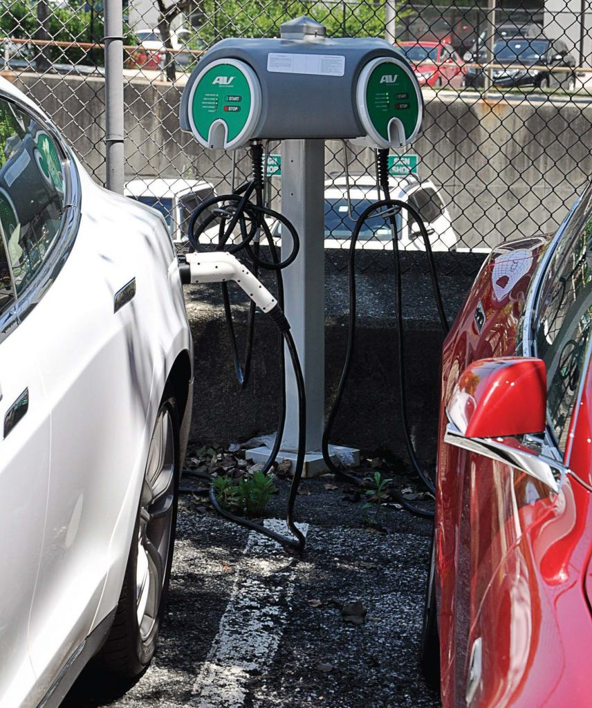 An EV car charges thanks to White Plains' charging stations. The city was designated a Clean Energy Community by the New York State Energy Research and Development Authority. (Photo provided by city of White Plains)