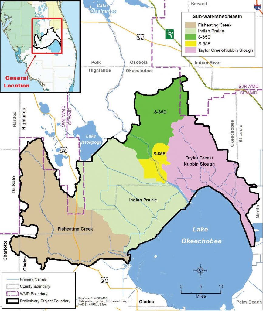 Pictured is a map of the Lake Okeechobee Watershed Project area. (Map provided)