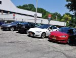 Multiple vehicles take advantage of White Plains, N.Y.'s EV charging stations. (Photo provided by city of White Plains)