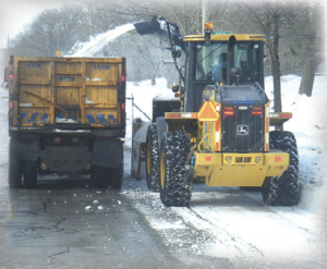 The ability to clean up aft er a snowstorm requires yearlong preparation to ensure every piece of equipment is in tip-top shape, from major repairs and preventative maintenance to securing media contacts and setting up weather contacts. (Photo provided)