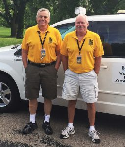 The parks in Bettendorf, Iowa, are patrolled each night by volunteers during the summer season. This program and the city's teamwork with the local police department help to cut down on vandalism. Pictured are Kurt Weiler, left, and Greg Shelangouski, two of the long-time park ambassadors in Middle Park. (Photo provided)