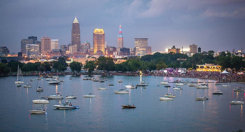 Guests and boaters gather for Cleveland Metroparks Centennial Celebration presented by KeyBank, taking in a performance by Michael Stanley and a spectacular fireworks display. (Photo provided by Cleveland Metroparks)