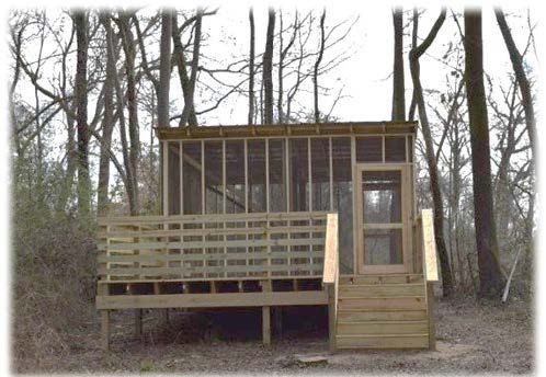 Greenville built an enclosed camping platform along the Tar River, which is great for nervous first-time campers. (Photo provided)