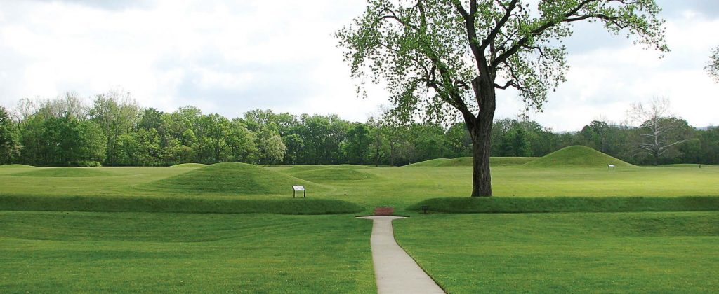 The entrance to Hopewell Mound Group, a Native American burial ground 3 miles north of Chillicothe. The earthen ridge stretches 2,050 feet on a side and encases a square parcel of land containing 23 burial mounds dating from 200 B.C. to the fourth century. (Photo provided)