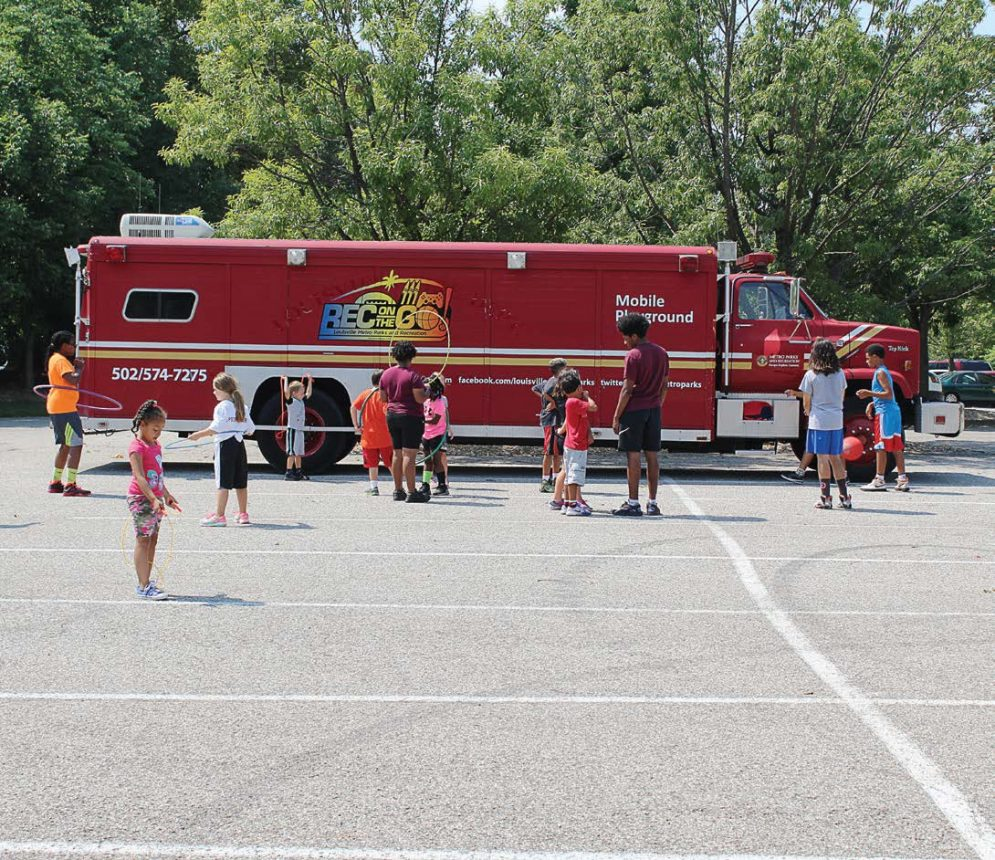 Louisville, Ky., Metro Parks and Recreation converted a 30-foot decommissioned fire truck into a mobile playground driven by school bus drivers in the summer months. It is used to reach kids who might not be able to participate in summer programming for various reasons. (Photo provided)