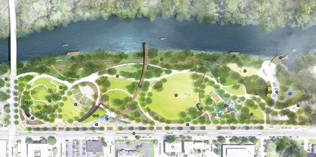Pictured is an illustrative plan of the Town Common park along the Tar River in Greenville, N.C. (Photo provided)