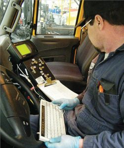 An important part of winter preparedness is to inventory what equipment is currently in hand and its status. A Milwaukee Fleet Services employee runs a diagnosis on a truck. (Photo provided)