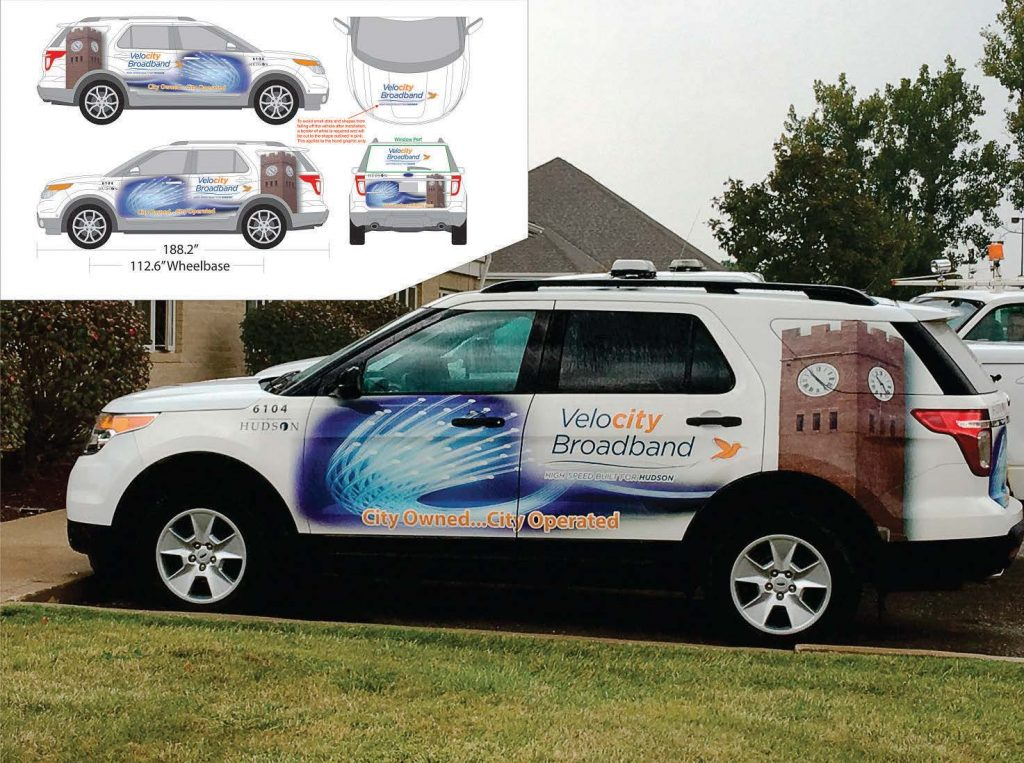 Hudson, Ohio, used VMS fleet graphics to spread the word about its new Velocity Broadband service. VMS has a full design team on hand to help cities design their whole fleet campaigns across vehicle types. (Photo provided)