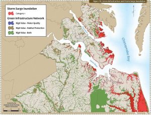 The rate of sea level rise in Virginia is somewhere between 5 and 6 millimeters per year, which is almost twice the global rate. Pictured is a green infrastructure and storm surge inundation map of Virginia created by the Hampton Roads Planning District Commission. (Photo provided)