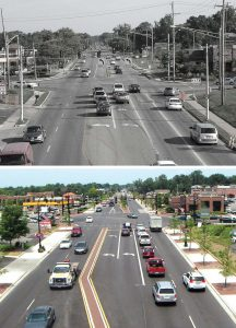 The intersection of State Street and Schrock Road is one infrastructure project that took precedence as the primary gateway into the city. A multi-year project, citizens were kept apprised to its progress via GoWesterville. Pictured is the before and after of this intersection. (Photos provided)