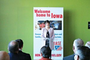 Kurovski gives a speech after the city of Pleasant Hill was named a Home Base Iowa Community. HBI Cities provide incentives for veterans who relocate within their city limits that stand alone or complement those offered by the county and state. (Photo provided)