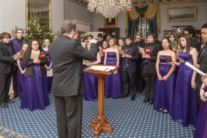 A choir from a local school is selected to perform at the Executive Mansion. (Photo provided by Pierre Courtois, Library of Virginia)