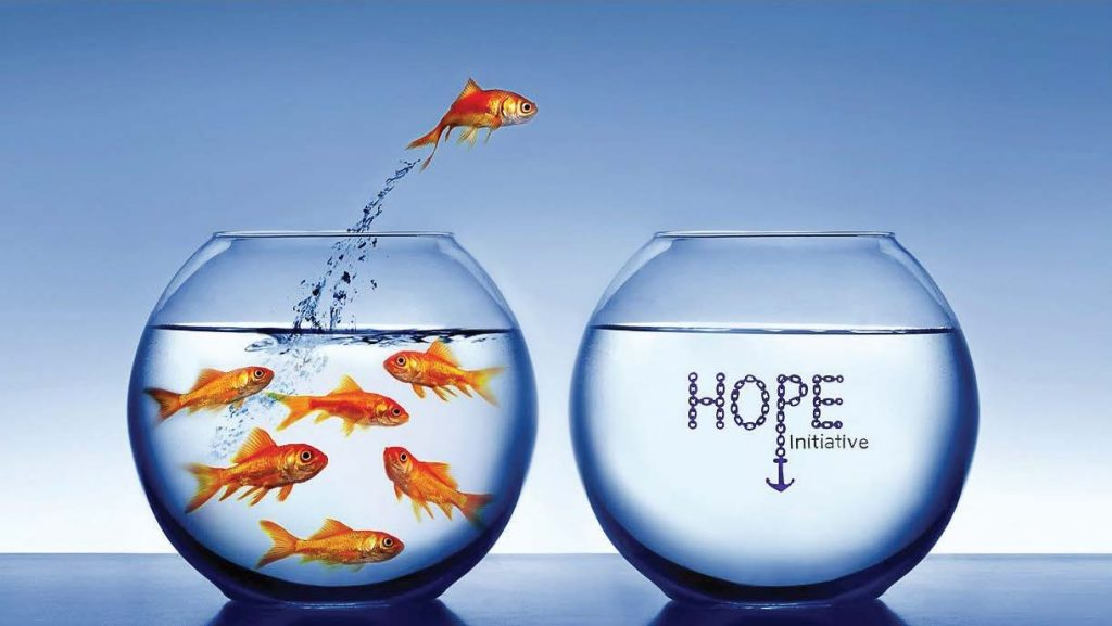 "This image of the goldfish illustrates users jumping ""out of mainstream using and into 'Hope' and recovery,"" according to Police Chief Thomas Bashore. (Photo provided)"