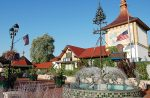 The Frankenmuth Visitor Center features a fountain with a maypole sculpture and a platz for convivial social congregation.