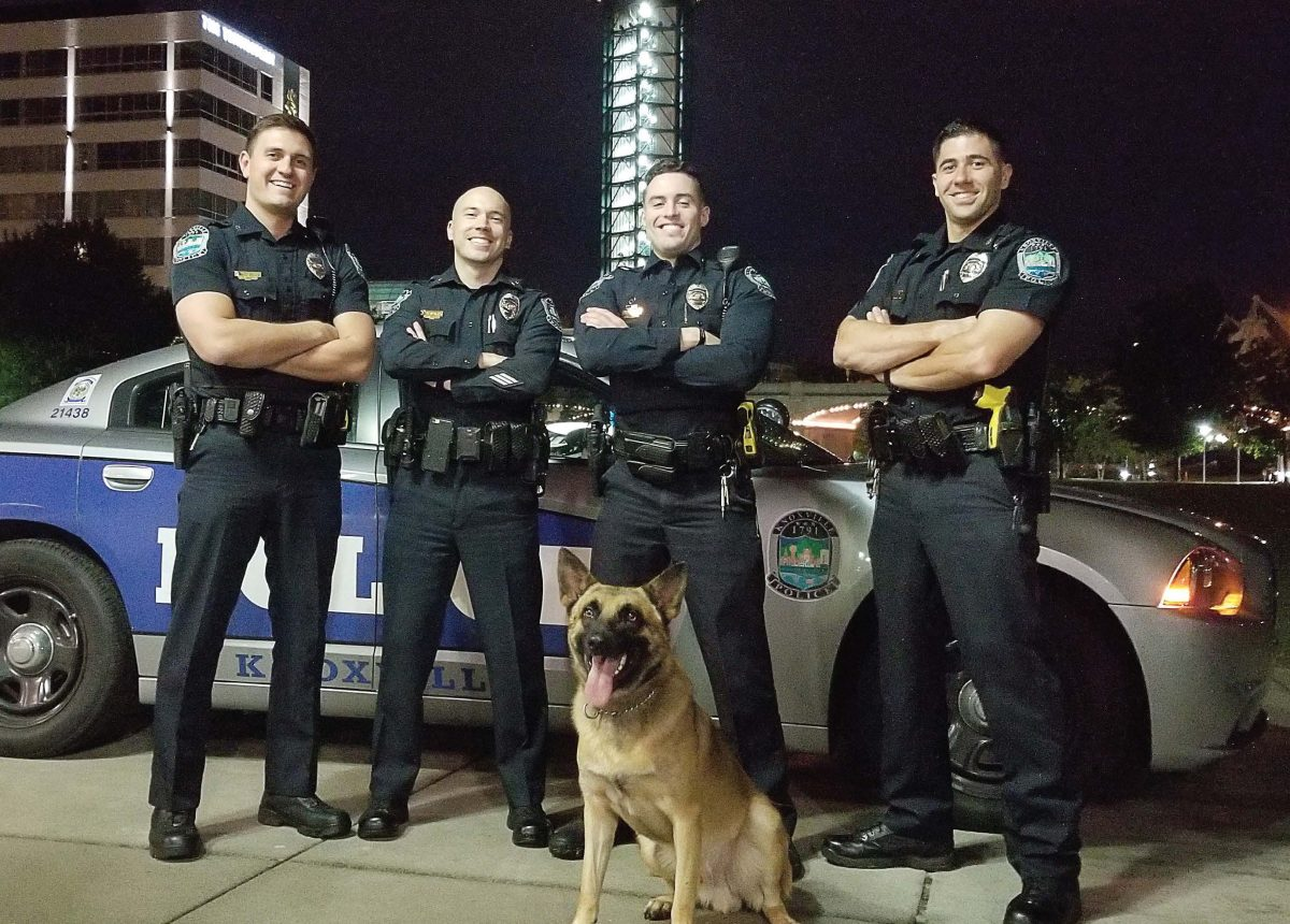 The photo that the Knoxville Police Department chose to challenge the Gainesville Police Department included a K-9. While this not only caught many people's attention, it also helped to bring awareness to many of the animal shelters and other animal relief agencies that needed help following the hurricane. Pictured, from left, are Officer Brayden Hanson, Sgt. Samuel Henard, Officer Garrett Fontanez and Officer Christopher Medina. In front is the K-9, Nash. (Photo provided)