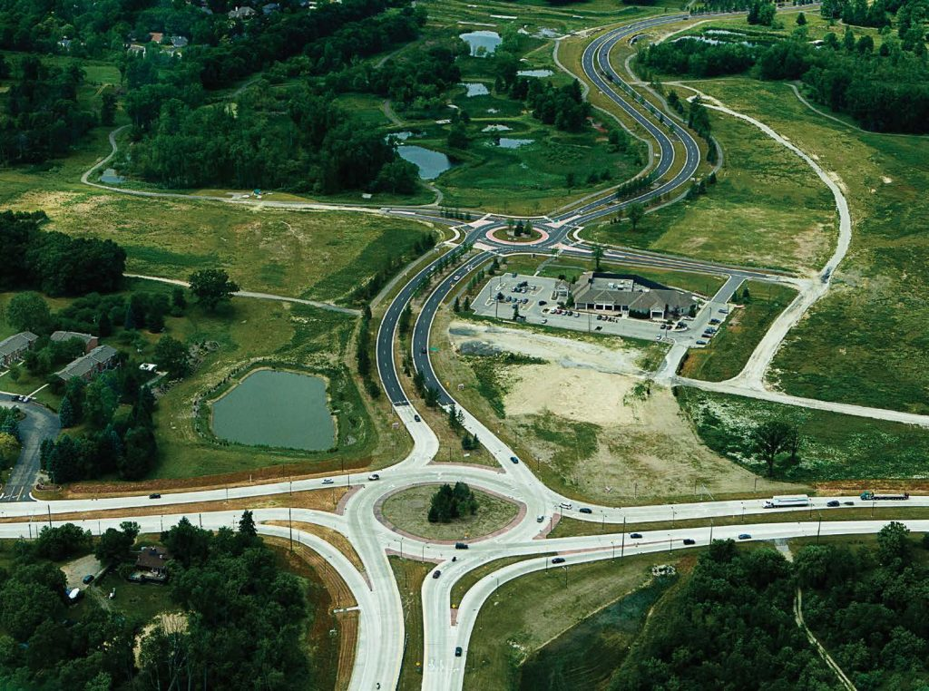 Pictured is the M-5 and Martin Parkway roundabout in Oakland County, Mich. (Photo provided by Road Commission for Oakland County)