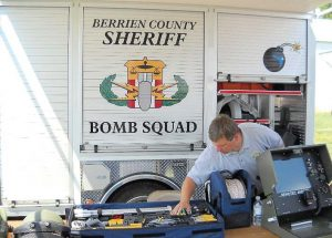 A member of the Berrien County Sheriff's Office's bomb squad shows off equipment ready for use if needed. (Photo provided)