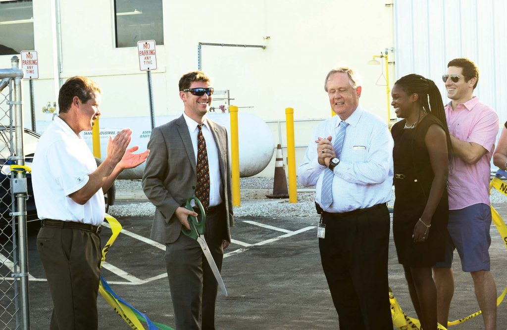 A ribbon cutting ceremony was held for the upgraded East Water Treatment Plant on July 27, 2017. Pictured, from left, are Boynton Beach Commissioner Joe Casello, Mayor Steven Grant, Utilities Technical Services Manager Michael Low, Commissioner Christina Romelus and Vice Mayor Justin Katz. (Photo provided)